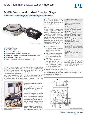 M-038 Datasheet - PZT & Piezo Actuators: Sub Nanometer ...