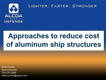 Approaches to reduce cost of aluminum ship structures - NSRP