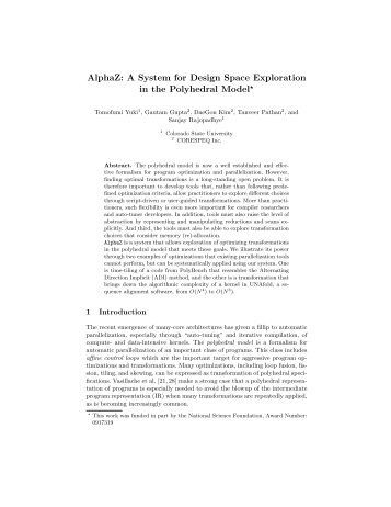 A System for Design Space Exploration in the Polyhedral Model - Inria