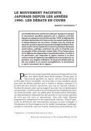 LE mouvEmEnt pacifistE japonais dEpuis LEs annéEs 1990 : LEs ...