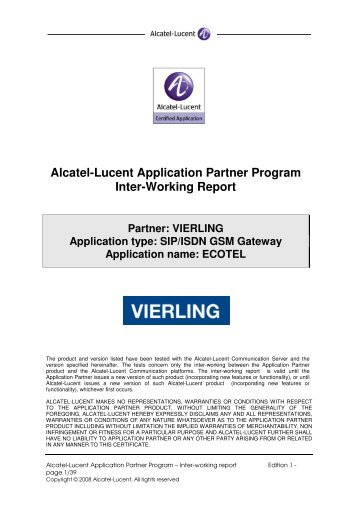 Alcatel-Lucent Application Partner Program Inter-Working ... - teles