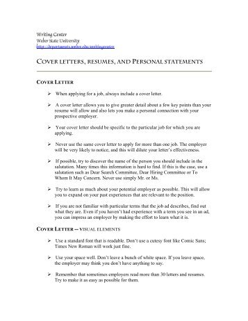 Resume Cover Letter Templates The Personal Statement Resume Cover Letter  Tips  Personal Statement Resume