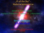 """""""Pi of the Sky"""" - Niebo w komputerze"""