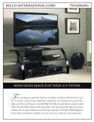 bell'o international corp. pvs4206hg high gloss black flat panel a/v ...