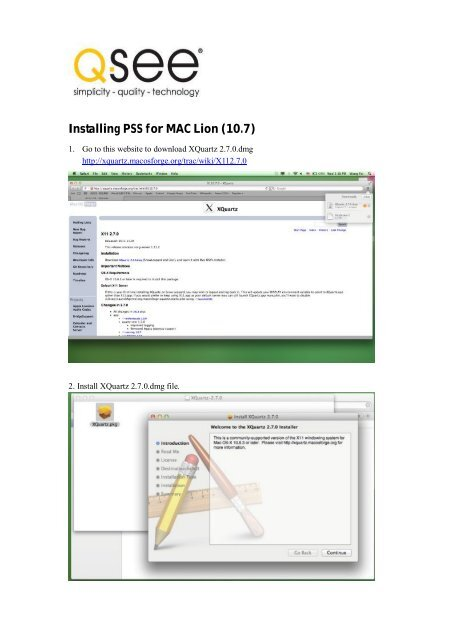 Installing PSS for MAC Lion (10 7) - Q-See