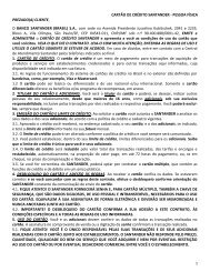 Contrato de Cartões de Crédito Pessoa Física vigente a ... - Santander
