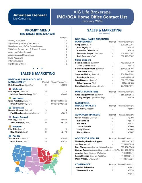 AIG Life Brokerage IMO/BGA Home Office Contact List