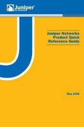 Juniper Networks Product Quick Reference Guide