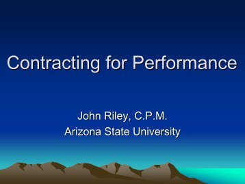Contracting for Performance