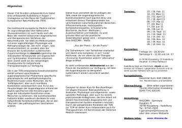 können Sie ein Faltblatt mit den Kurs - Rhizoma Seminare