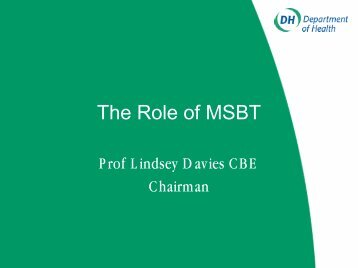 The Role of MSBT