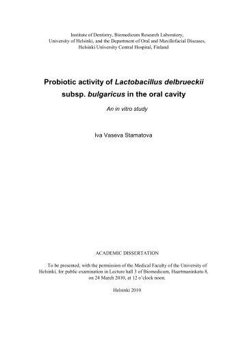 Probiotic activity of Lactobacillus delbrueckii subsp ... - Doria