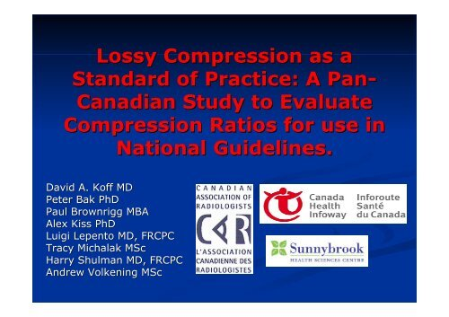 Lossy Compression as a Standard of Practice: A Pan- Canadian ...