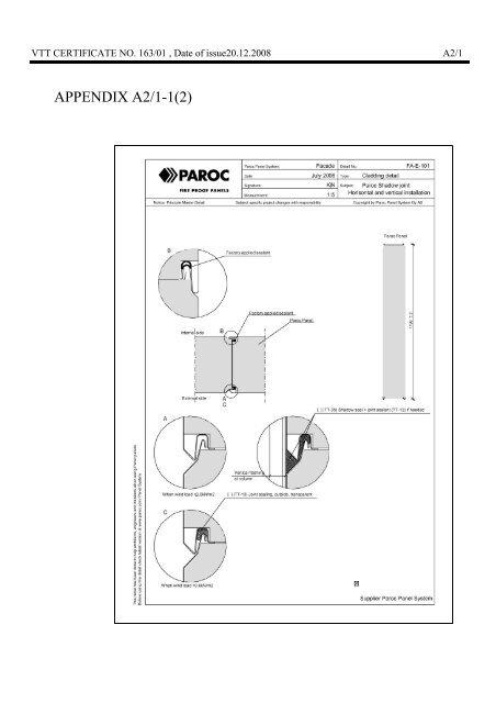 CERTIFICATE No 163/01 NAME OF PRODUCT ... - Paroc.com