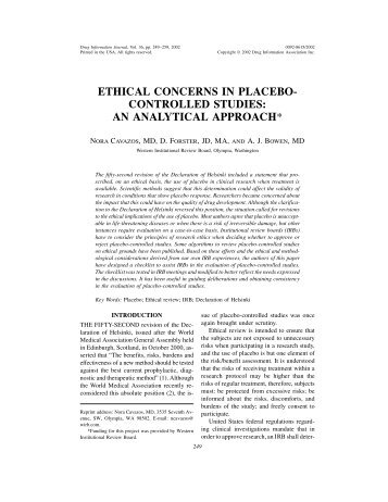 ethical concerns in placebo- controlled studies: an analytical approach