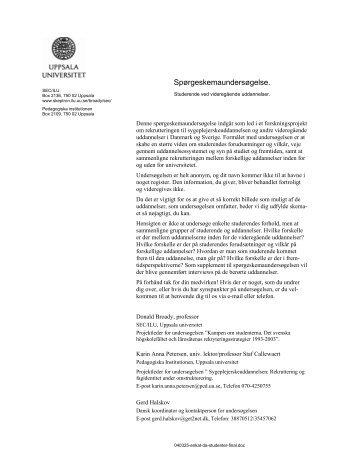 Spørgeskemaundersøgelse. - skeptron.uu.se - Uppsala universitet