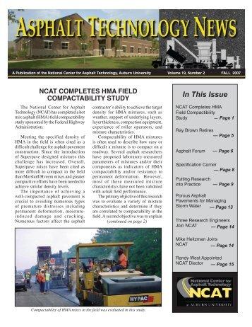 ncat completes hma field compactability study - Samuel Ginn ...