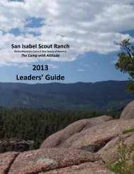 2013 San Isabel Scout Ranch Leader's Guide - Rocky Mountain ...