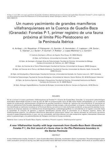 Un nuevo yacimiento de grandes mamíferos villafranquienses en la ...