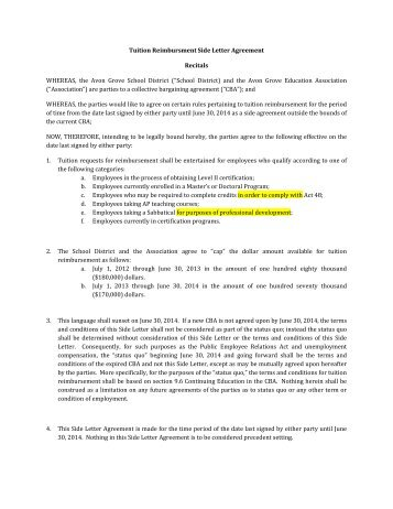 realignment side letter agreement this agreement dpa