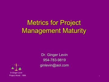Metrics for Project Management Maturity