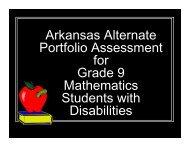 Arkansas Alternate Portfolio Assessment for Grade 9 Mathematics ...