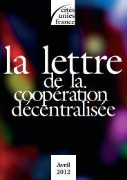 La Lettre - avril 2012 - Cités Unies France