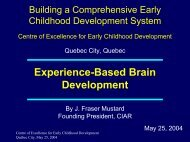 Early Experience-Based Brain Development - Centre of Excellence ...