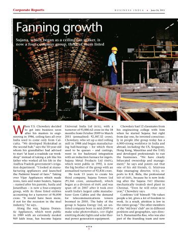 Fanning Growth Business India 26-June-2011 - Sujana Group