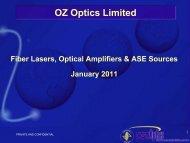 Fiber Lasers Optical Amps ASE Sources - OZ Optics