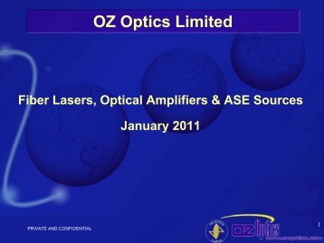 Fiber Lasers Optical Amps ASE Sources - OZ Optics