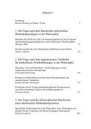 INHALT 1. Die Frage nach dem klassischen analytischen ...