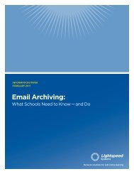Email Archiving: - Lightspeed Systems