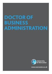 DOCTOR OF BUSINESS ADMINISTRATION - University of Worcester