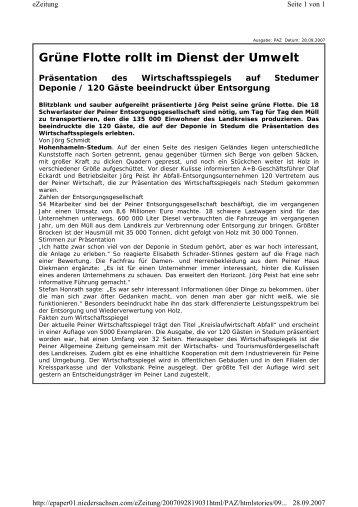 Veröffentlichung Peiner Allgemeine Zeitung - Wirtschafts- und ...
