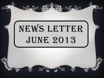 NEWS LETTER MAY 2013