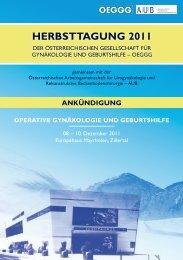 herbsttagung 2011 - Österreichische Gesellschaft für Gynäkologie ...