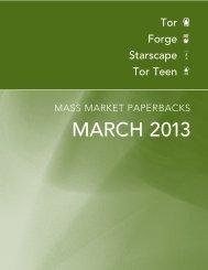 March 2013 Tor / Forge Mass Market Catalogue - Raincoast Books
