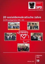 20 sozialdemokratische Jahre - SPD-Landtagsfraktion Brandenburg ...