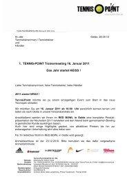1. TENNIS-POINT Trainermeeting Das Jahr startet ... - Tennis-Point.de