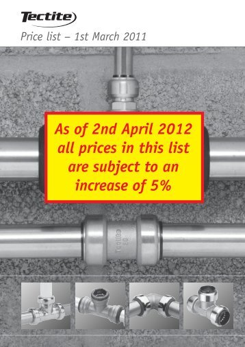 As of 2nd April 2012 all prices in this list are subject to an ... - Pegler