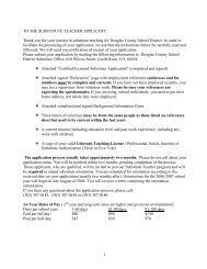 1 TO THE SUBSTITUTE TEACHER APPLICANT - Douglas County ...