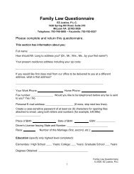 Family Law Questionnaire in PDF - Law Offices of Olivier Denier Long