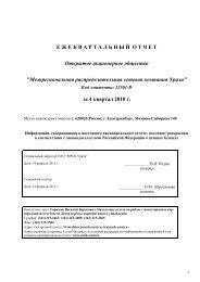 за IV квартал 2010 года - МРСК Урала