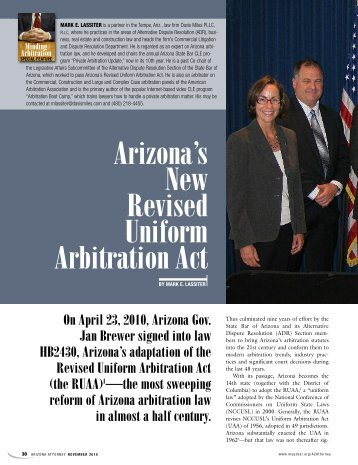 Arizona's New Revised Uniform Arbitration Act - State Bar of Arizona