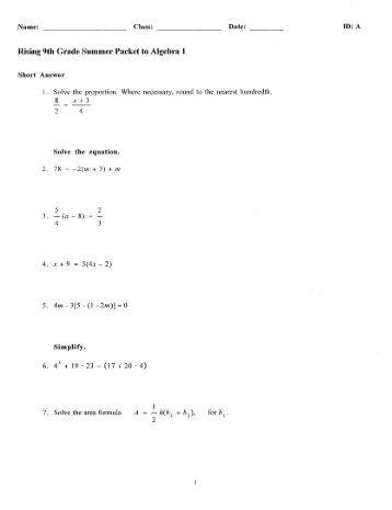 Printables Algebra 1 Worksheets For 9th Grade algebra for 9th grade topics questions 1 ninth worksheets pre and 2