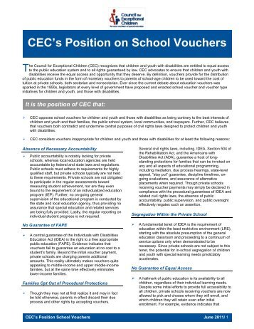 CEC's Position on School Vouchers - Council for Exceptional ...