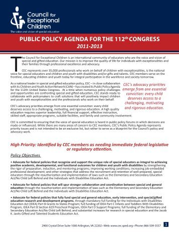 CEC's Public Policy Agenda for the 112th Congress