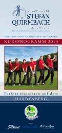 Kursprogramm 2013 - Stefan Quirmbach Golfschule
