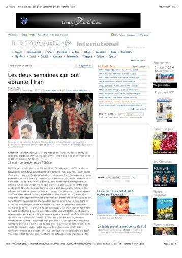 Le Figaro - International : Les deux semaines qui ont ... - Iran Resist